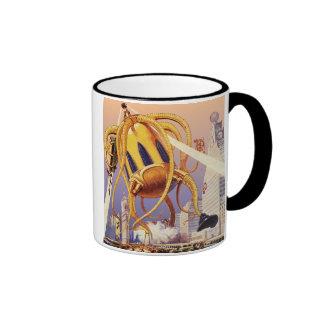 Vintage Science Fiction Alien War Invasion Octopus Ringer Coffee Mug