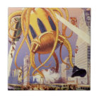 Vintage Science Fiction Alien War Invasion Octopus Tile