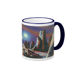 Vintage Science Fiction Aliens on a Foreign Planet Coffee Mugs