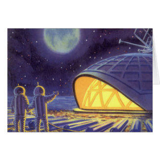 Vintage Science Fiction Aliens on Blue Planet Moon Card