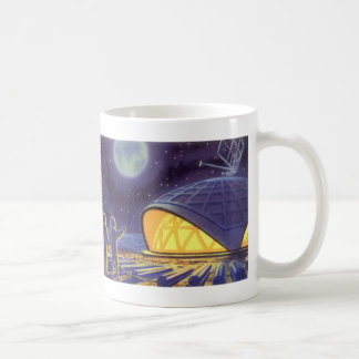 Vintage Science Fiction Aliens on Blue Planet Moon Classic White Coffee Mug