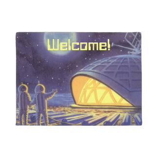 Vintage Science Fiction Aliens on Blue Planet Moon Doormat