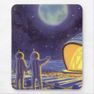 Vintage Science Fiction Aliens on Blue Planet Moon Mouse Pad