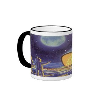 Vintage Science Fiction Aliens on Blue Planet Moon Ringer Coffee Mug