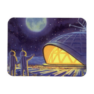Vintage Science Fiction Aliens on Blue Planet Moon Rectangular Photo Magnet