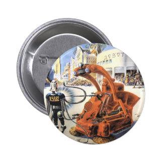 Vintage Science Fiction Aliens War Futuristic City Pins