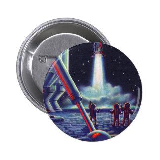 Vintage Science Fiction Aliens Wave to Rocket Pinback Buttons