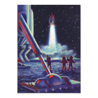 Vintage Science Fiction Aliens Wave to Rocket Invite