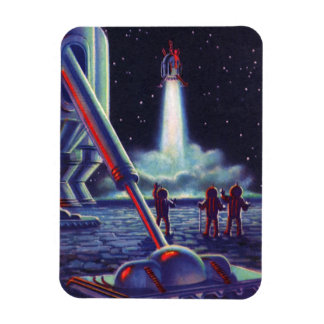 Vintage Science Fiction Aliens Wave to Rocket Rectangular Photo Magnet