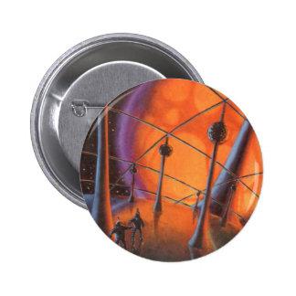 Vintage Science Fiction Aliens with a Orange Sun Button