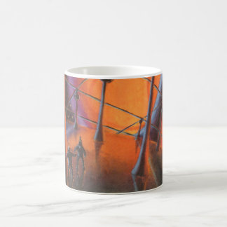 Vintage Science Fiction Aliens with a Orange Sun Coffee Mug