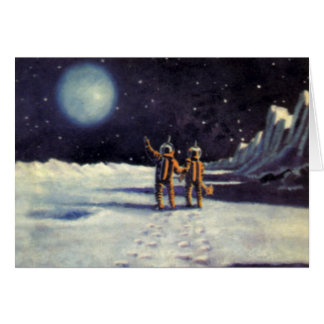 Vintage Science Fiction Astronaut Aliens on Moon Greeting Card