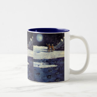 Vintage Science Fiction Astronaut Aliens on Moon Two-Tone Coffee Mug