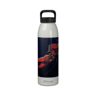 Vintage Science Fiction Astronaut in Outer Space Drinking Bottles