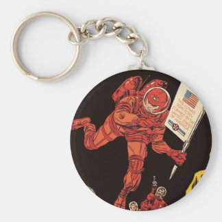 Vintage Science Fiction, Astronaut Moon Landing Keychain