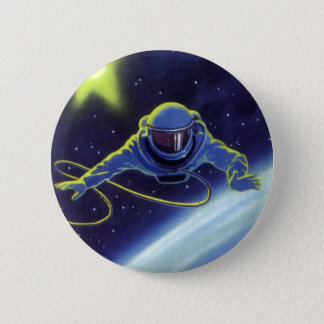Vintage Science Fiction Astronaut on a Space Walk 2 Inch Round Button