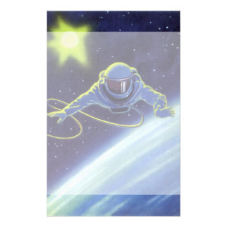 Vintage Science Fiction Astronaut on a Space Walk Stationery Paper