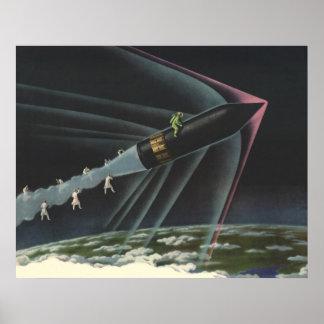 Vintage Science Fiction Astronaut Riding a Rocket Poster