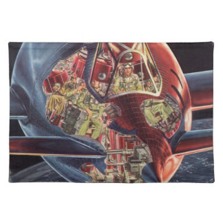 Vintage Science Fiction Astronaut Rocket Spaceship Placemat