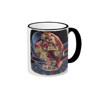 Vintage Science Fiction Astronaut Rocket Spaceship Ringer Coffee Mug