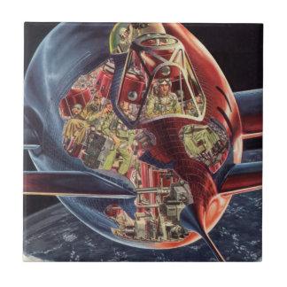 Vintage Science Fiction Astronaut Rocket Spaceship Tile