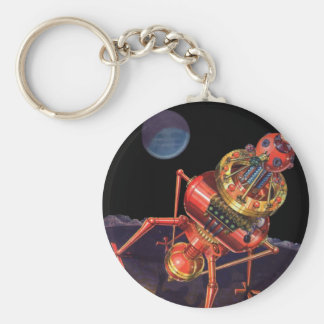 Vintage Science Fiction Astronaut with Alien Robot Basic Round Button Keychain