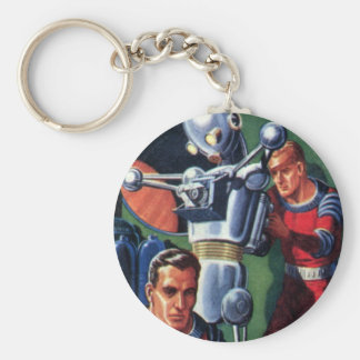 Vintage Science Fiction Astronauts Fixing a Robot Basic Round Button Keychain