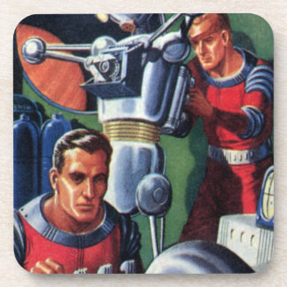 Vintage Science Fiction Astronauts Fixing a Robot Coaster
