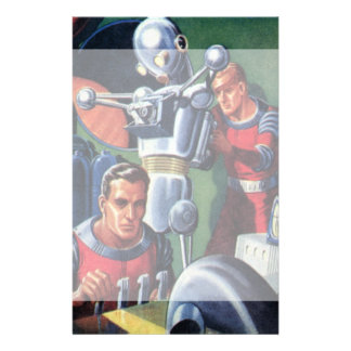 Vintage Science Fiction Astronauts Fixing a Robot Custom Stationery