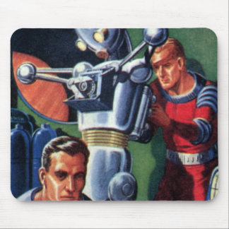 Vintage Science Fiction Astronauts Fixing a Robot Mouse Pad