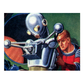 Vintage Science Fiction Astronauts Fixing a Robot Postcard