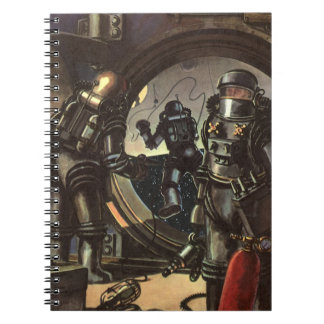 Vintage Science Fiction Astronauts on a Spacewalk Spiral Note Book