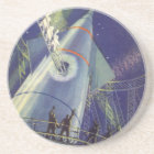 Vintage Science Fiction Astronauts on Rocket Ship Coaster