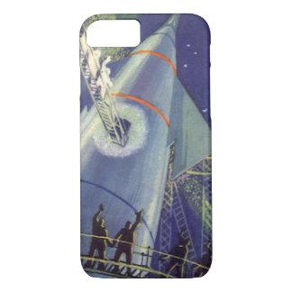 Vintage Science Fiction Astronauts on Rocket Ship iPhone 7 Case