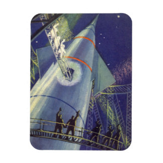 Vintage Science Fiction Astronauts on Rocket Ship Rectangular Photo Magnet