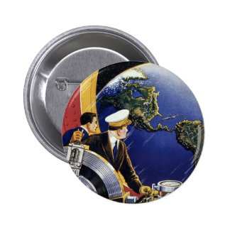 Vintage Science Fiction Astronauts Orbiting Earth 2 Inch Round Button