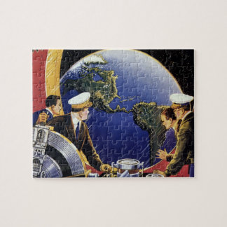 Vintage Science Fiction Astronauts Orbiting Earth Jigsaw Puzzle