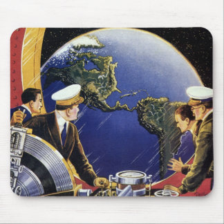 Vintage Science Fiction Astronauts Orbiting Earth Mouse Pad
