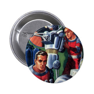 Vintage Science Fiction Astronauts with a Robot Pinback Buttons