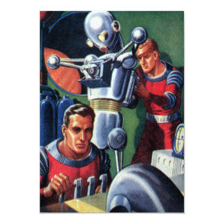 Vintage Science Fiction Astronauts with a Robot Personalized Invite