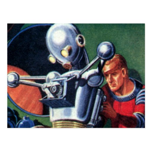 Vintage Science Fiction Astronauts with a Robot Postcard