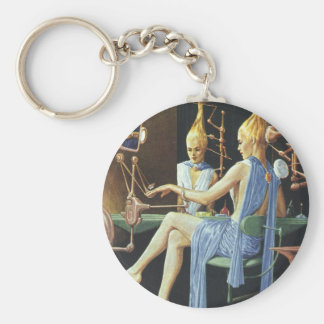Vintage Science Fiction Beauty Salon Spa Manicures Basic Round Button Keychain