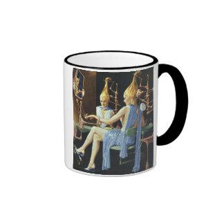 Vintage Science Fiction Beauty Salon Spa Manicures Ringer Coffee Mug