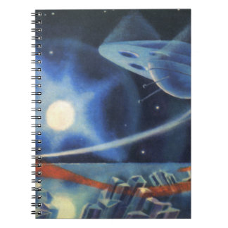 Vintage Science Fiction Blue Planet with Spaceship Notebooks