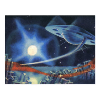 Vintage Science Fiction Blue Planet with Spaceship Postcard