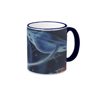 Vintage Science Fiction Blue Planet with Spaceship Ringer Coffee Mug