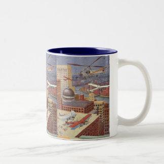 Vintage Science Fiction City, Steam Punk Machines Two-Tone Coffee Mug
