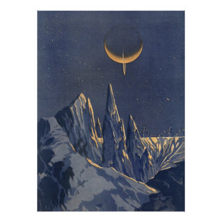 Vintage Science Fiction, Crescent Moon Snow Planet Poster