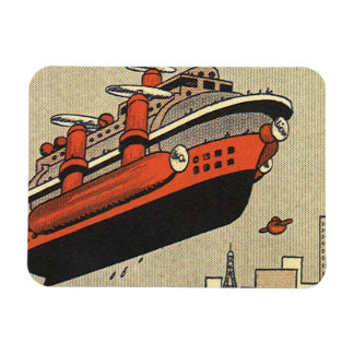 Vintage Science Fiction Cruise Ship Helicopter Rectangular Photo Magnet