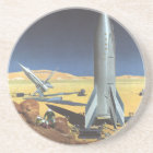 Vintage Science Fiction Desert Planet with Rockets Coaster